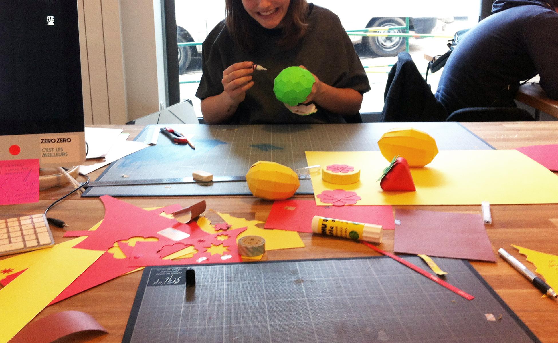 paper-art-3D-fruit-découpage