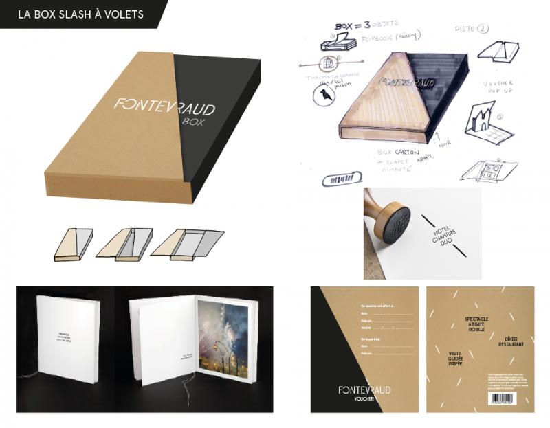 Proposition de boîte avec fermeture à rabats aimantés, les volets de la couverture se superposent pour dessiner les «slash» du logo. Logo sérigraphié en blanc.