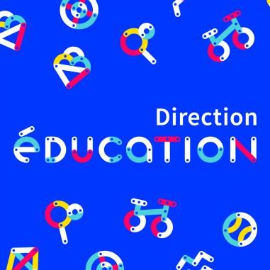 Identité visuelle pour la Direction de l'Éducation de la Ville de Chalon-sur-Saône. Une charte graphique en forme de jeu de construction pour communiquer sur les activités extra-scolaires et périscolaires.