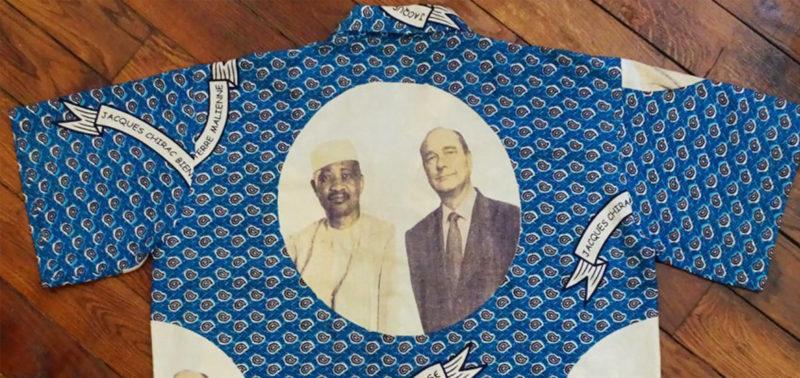 Chemise wax représentant Jacques Chirac - collection personnelle Bonjour Bintou