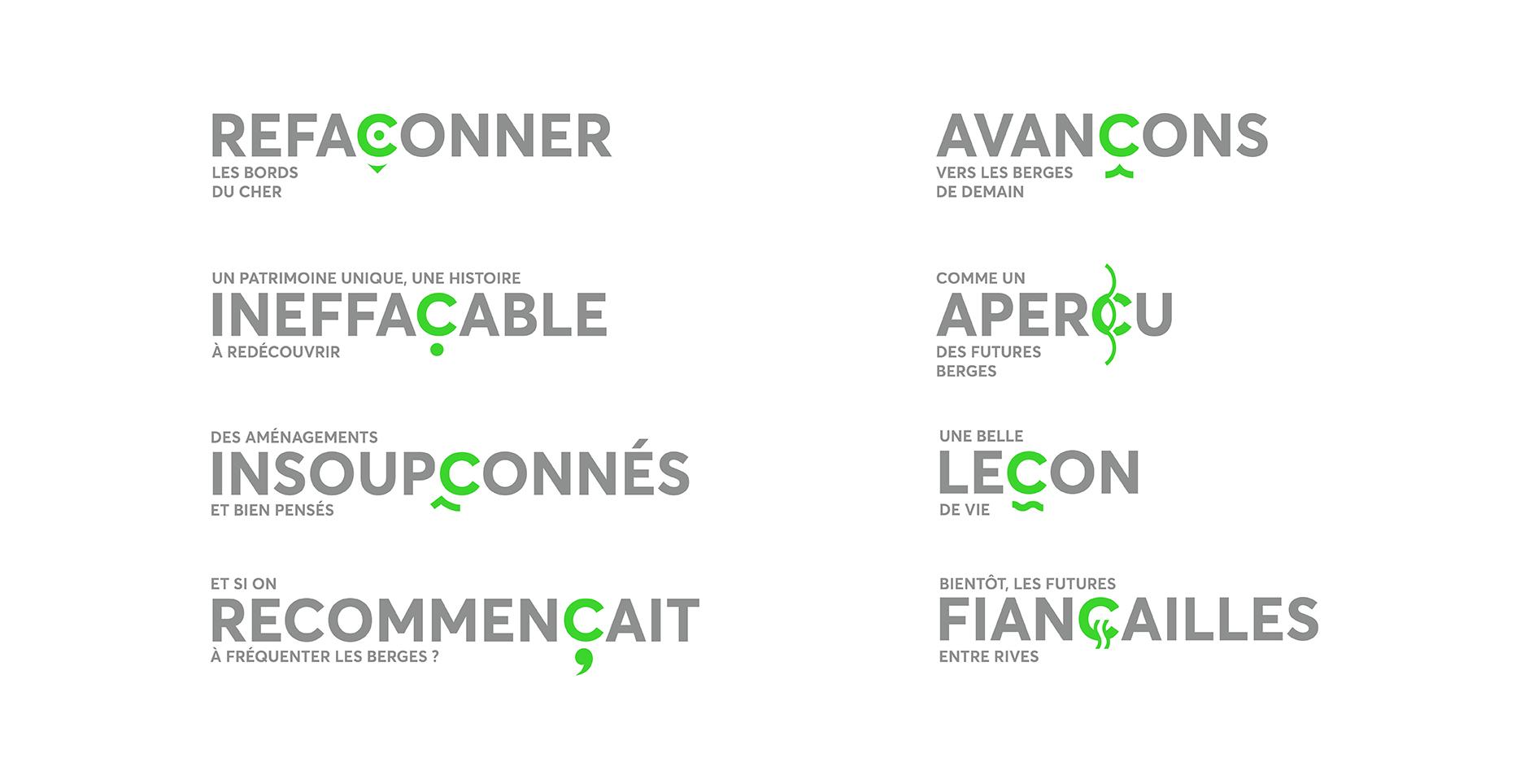 Les différentes utilisation de l'identité du projet C Montluçon dont le design graphique est réalisé par l'agence Graphéine