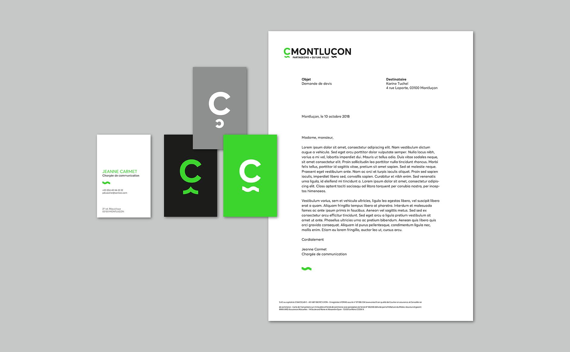 Utilisation de l'identité graphique de C Montluçon dont la communication a été créée par Graphéine